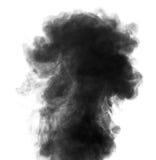 Zwarte stoom die als rook op witte achtergrond kijken Royalty-vrije Stock Afbeeldingen