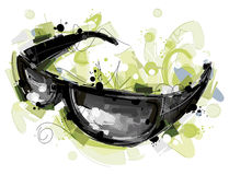 Zwarte Sunglass op Wit Stock Afbeelding
