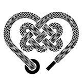 Zwarte symbool van het schoenveter het Keltische hart Stock Afbeelding