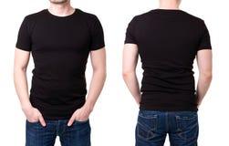 Zwarte t-shirt op een jonge mensenmalplaatje stock fotografie