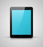 Zwarte tabletpc met het blauwe scherm Stock Afbeelding
