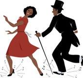 Zwarte tapdansuitvoerders stock illustratie