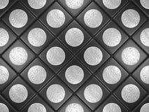 Zwarte tegels met een grijze ronde Stock Afbeelding