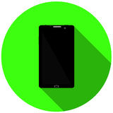 Zwarte telefoon Groene Achtergrond Met vlakke schaduw Stock Afbeeldingen