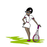 Zwarte tennisvrouw Stock Afbeelding