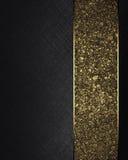 Zwarte textuur met gouden lint Element voor ontwerp Malplaatje voor ontwerp exemplaarruimte voor advertentiebrochure of aankondig Royalty-vrije Stock Afbeelding
