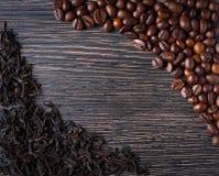 Zwarte thee en koffie Royalty-vrije Stock Foto's