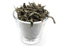 Zwarte thee in glas Stock Foto's
