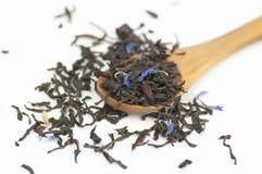 Zwarte thee met bloemblaadjes op witte achtergrond Royalty-vrije Stock Afbeeldingen
