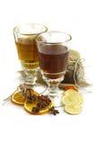 Zwarte thee met geïsoleerdei de herfststijl, Stock Foto