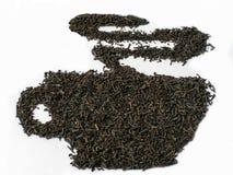 Zwarte theeblaadjes Graaf grijze thee stock fotografie