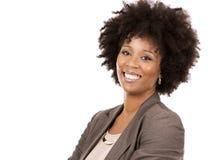Zwarte toevallige vrouw op witte achtergrond Stock Foto