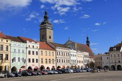 Zwarte Toren en Ottokar II Vierkant in jovice van České Budě royalty-vrije stock afbeelding