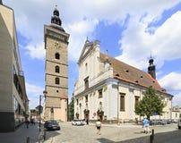 Zwarte Toren en St Nicholas Cathedral in Ceske Royalty-vrije Stock Fotografie