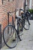 Zwarte traditionele Nederlandse fietsen Royalty-vrije Stock Afbeelding