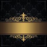 Zwarte uitstekende achtergrond met gouden grens en hoeken Royalty-vrije Stock Afbeelding