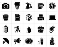 Zwarte van de Cameramateriaal en fotografie pictogrammen royalty-vrije illustratie