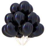 Zwarte van de de partijdecoratie van de ballons gelukkige verjaardag donkere glanzend vector illustratie