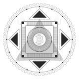 Zwarte van het Bitcoin de Symmetrische Patroon Stock Foto