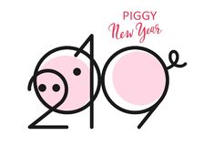 zwarte van het het varkens de nieuwe jaar van 2019 stock afbeelding