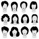 Zwarte vector het haarsilhouetten van het vrouwenkapsel Royalty-vrije Stock Foto's