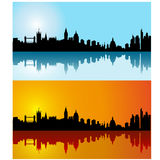 Zwarte vector het silhouethorizon van Londen op dag Stock Afbeelding