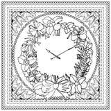 Zwarte vector monokleurenillustratie voor Vrolijke Kerstmis en het Gelukkige ontwerp van de Nieuwjaar 2016 druk Het kleuren het o stock illustratie