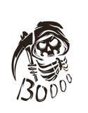 Zwarte vectoraffiche met doodskarakter vector illustratie