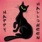 Zwarte vectorilluatration van kattenhalloween Royalty-vrije Stock Afbeelding