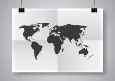 Zwarte vectorkaart Tweemaal een gevouwen affiche met klemmen Stock Foto's