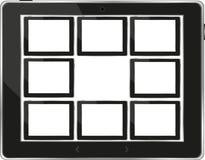Zwarte vectortabletPC die met het witte scherm wordt geplaatst Royalty-vrije Stock Foto