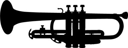 Zwarte vectortrompet Stock Fotografie