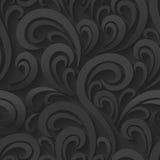 Zwarte Vectorwervelings Naadloze Achtergrond royalty-vrije illustratie