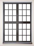 Zwarte vensterclose-up Front View het 3d teruggeven Stock Afbeeldingen