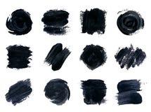 Zwarte verf, inkt, borstelslagen Royalty-vrije Stock Afbeelding