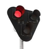 Zwarte verkeerslichten met rood signaal dat op wit wordt geïsoleerd stock afbeeldingen