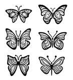 Zwarte Vlinders - illustratie Stock Afbeeldingen
