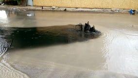 Zwarte vloeibare overstroming van een riooldekking stock video