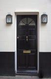 Zwarte voordeur Royalty-vrije Stock Foto