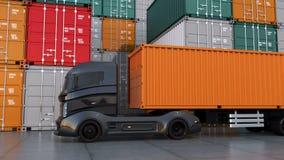 Zwarte vrachtwagen in containerhaven stock illustratie