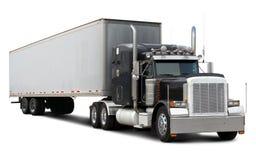 Zwarte vrachtwagen Peterbilt Stock Fotografie