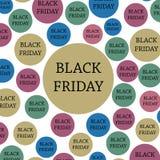 Zwarte vrijdag Banner, malplaatje kleurrijke achtergrond Stock Afbeelding