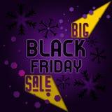 Zwarte vrijdag grote verkoop met geel abstract licht Stock Foto
