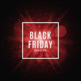 Zwarte vrijdag Grote verkoop Tekst en banner op de achtergrond van een grote rode flits met lichtgevend stoflaken voor Royalty-vrije Stock Foto