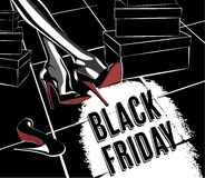 Zwarte vrijdag retro affiche Stock Fotografie