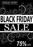 Zwarte vrijdagachtergrond met bloemendecoratie Royalty-vrije Stock Foto's