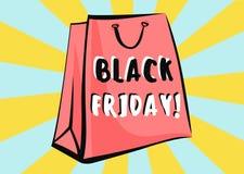 Zwarte vrijdagverkoop reclameaffiche Vector Pop Art Bag Stock Fotografie