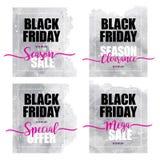 Zwarte vrijdagverkoop, reeks banners op een grijze waterverfachtergrond Vectorillustratie, malplaatjeontwerp, lijst, brochure stock fotografie