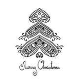 Zwarte vrolijke Kerstmisboom van overzichtspaisley Stock Illustratie