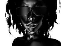 Zwarte vrouwelijke glazen Stock Foto
